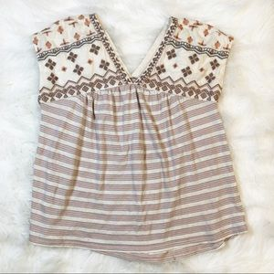 Lucky Brand cream/gray striped top blouse XS